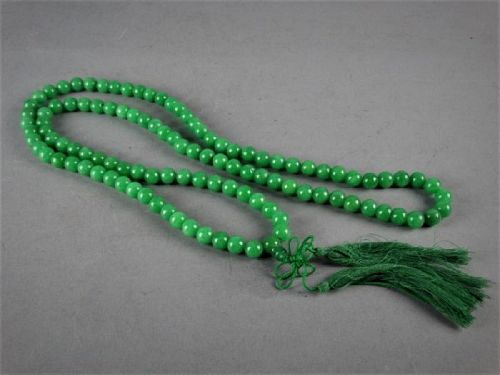 An Exquisite Vintage Green Jade/Jadeite Prayer Necklace