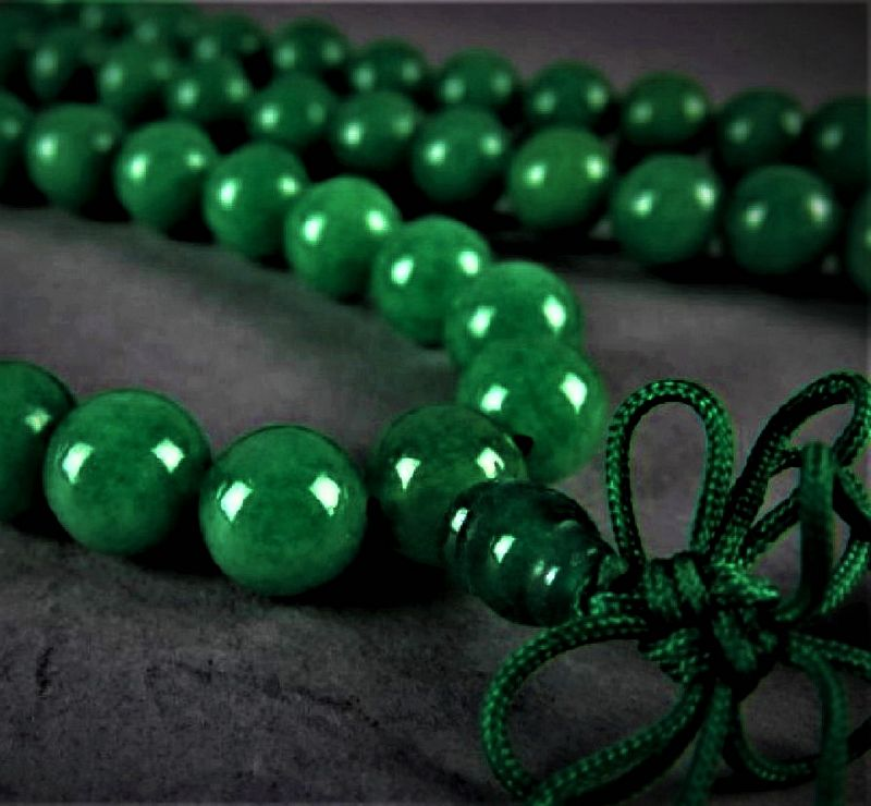 An Exquisite Vintage Green Jade/Jadeite Prayer Necklace