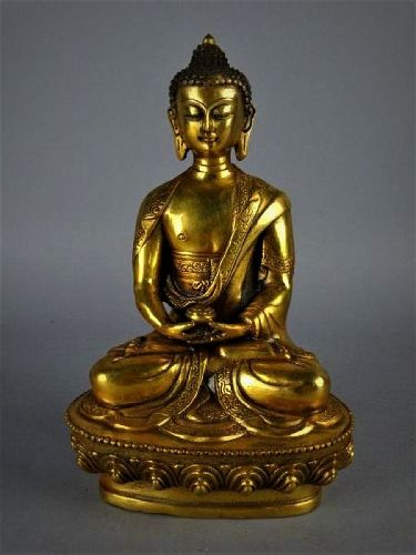 An Exquisite Qing Dynasty Quilt Bronze Seated Buddha