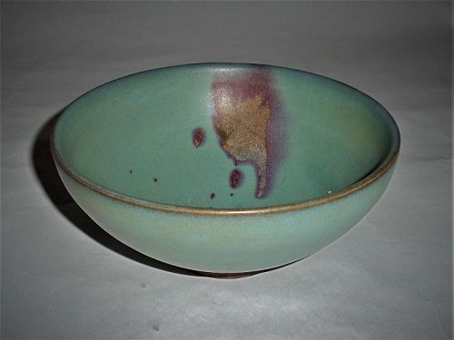 A Rare Junyao Sky-Blue Glazed & Rosy-Splashed Bowl