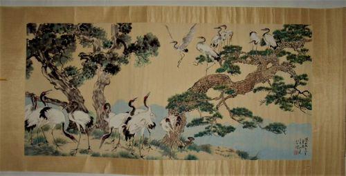 Xu Beihong (1895-1953) / A Longevity Painting of Cranes & Pine-Trees
