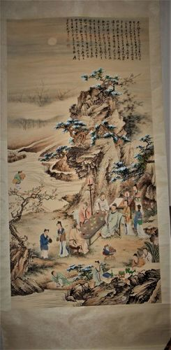 Zhang Daqian (1899-1983) / A Scholarly Gathering in Peach-Plum Garden