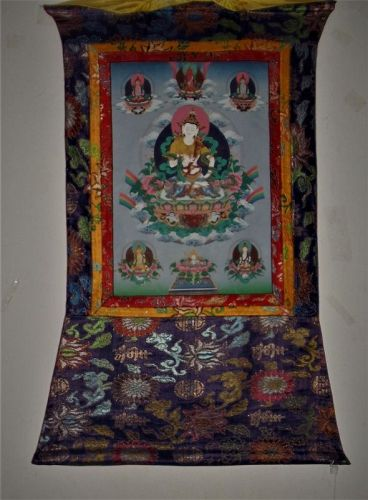 A Rare and Magnificent Chinese Tibetan-Buddhist Painted thangka