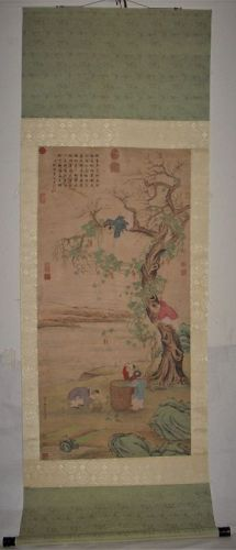 Gu Jianlong (1606-1687) / Hanging Scroll of Children Gathering Fruit