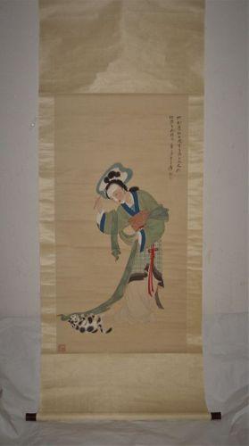 Zhang Daqian (1899-1983) / A Beauty Playing with a Cat After Tang Yin