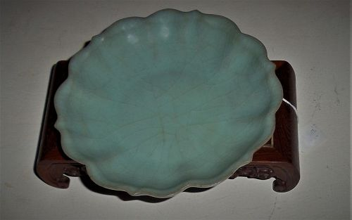 An Exquisite Song Dynasty Ruguanyao Powder-Blue Glazed Foliage-Shaped
