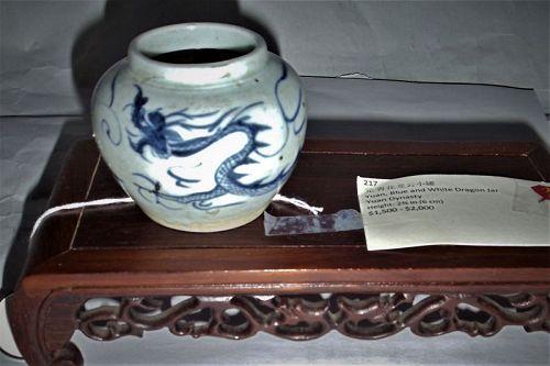 A Rare Yuan Dynasty Blue-White Jar with Dragon-Cloud Motifs