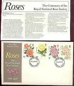 British Roses 1976 FDC Warrington, Cheshire