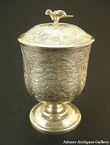 A Chinese Silver Lidded Goblet Marine Lives