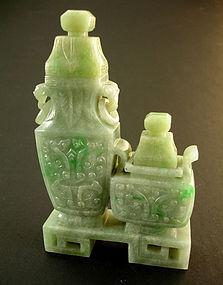 Chinese Scholars Jadeite Double Vases