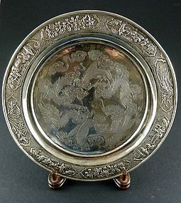 Chinese Silver Repousse Plate 19th Century