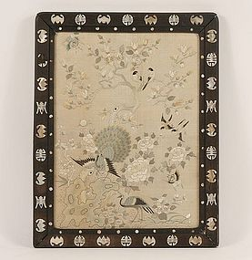 Antique Chinese Silk Embroidery Framed Panel
