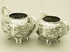 A Fine Pair of Chinese Silver Cream Jug and Sugar Bowl