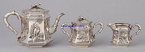 Chinese Silver Tea Teapot Set Three Pieces