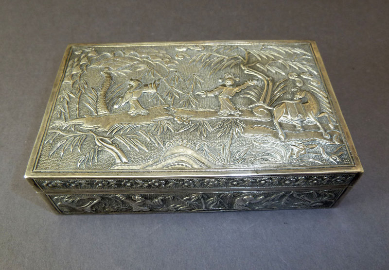 Antique Chinese Silver Repousse Box Story Figures