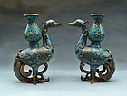 One Pair Chinese Cloisonne Birds Form Vase
