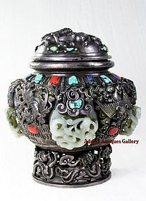 Magnificent Chinese Repousse Silver Jade Dragons Vessel