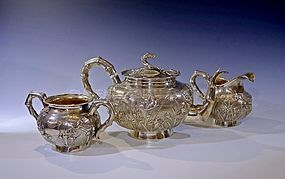 Antique Chinese Export Silver Tea Set