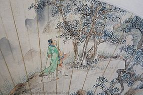 A Chinese Fan Painting by Wang Ren Shou (1875-1936)