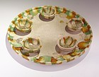 Rare Chinese Tang San Cai Plate with Match Cups Tang Dynasty