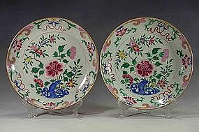 A Pair Of Qianlong Famille Rose Plates, 18th Century