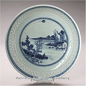 Chinese QIANLONG Blue White Porcelain Fisherman Plate