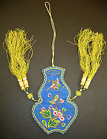 Vase-Shaped Chinese Silk Embroidered Purse Qing Dynasty