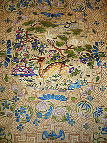 Antique Chinese Silk Embroidered Panel 19th C.