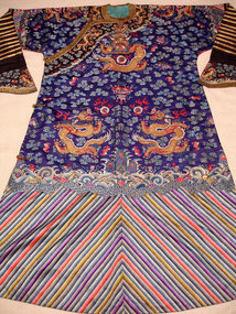 IMPERIAL CHINESE SILK EMBROIDERY DRAGON ROBE