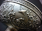 FINE ANTIQUE CHINESE REPOUSSE SILVER BOWL ON STAND