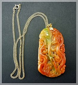 Red Green JADEITE jade Pendent with Dragon Phoenix