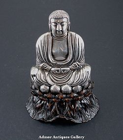 A Silver Buddha On Lotus 19th Century