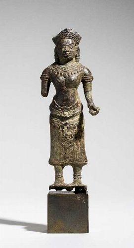 Khmer Bronze Female Deity, C12-13th