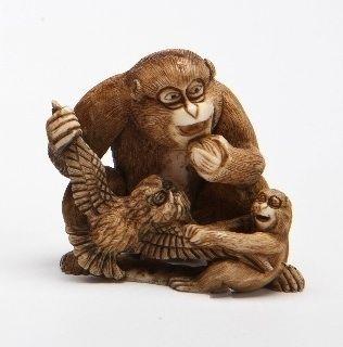 A Meiji Ivory Netsuke of Monkeys and Owl, Seigyoku
