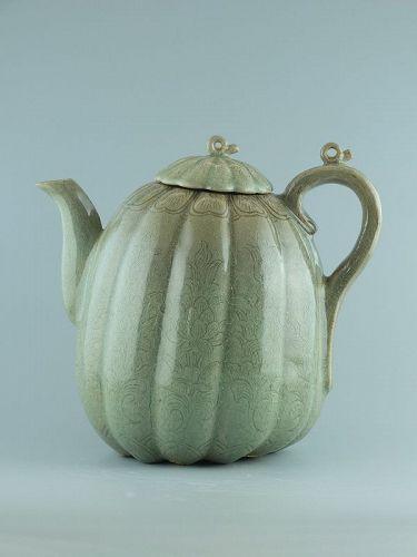A Korean celadon, melon form, ewer; Goryeo dynasty