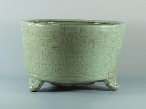 A Chinese Longquan tripod censer; Ming C16th