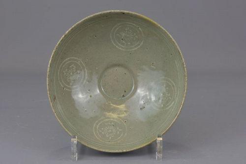 A Korean celadon inlaid bowl; Goryeo dynasty