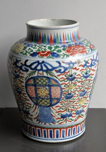 A Chinese, Transitional Period, wucai vase; C17th