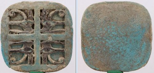 Ancient Egyptian Quadruple Faience Wedjat Eye, ca. 3,5 cm c. 1,38 inch