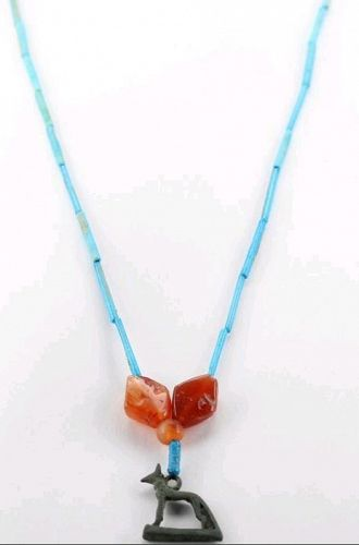 Necklace with bronze Anubis Amulet and blue faience, carnelian beads.