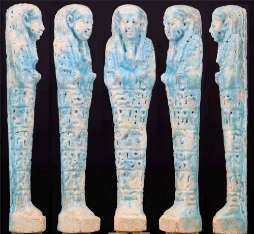 Blue faience Shabti for General Padybastet son of Padyhormedenit