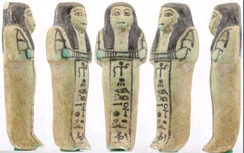 Very rare nice fayence Shabti for Anchtu - ca. 14 cm c. 5,51 inches
