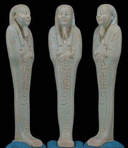 Altägyptisch Fayence one of the best Shabti from Nanefer-Senebek