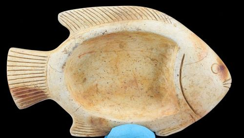 Ointment bowl designed as a nile perch
