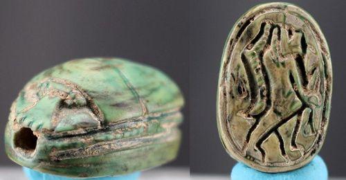 Green glazed scarab with presentation of hippopotamus goddess Tuwaret