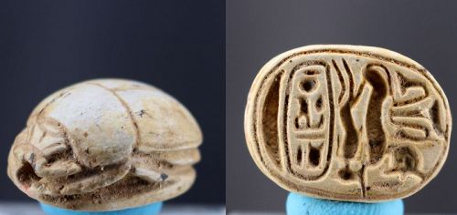 Ancient steatite scarab with sphinx, cartouche and papyrus 2,1cm