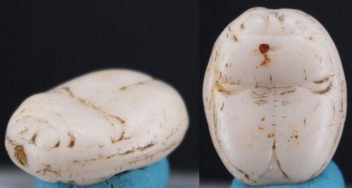 Ancient egyptian white stone pearl scarab 13mm
