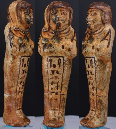Ancient egyptian fayence shabti for Prince Khaemwaset 13,7cm