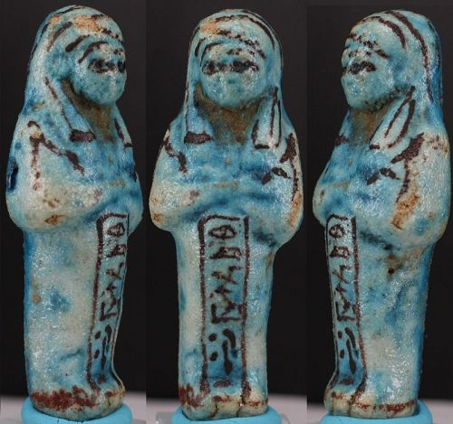 Ancient egyptian shabti of Osiris Hor-Iberna brother of Chons 8,5cm