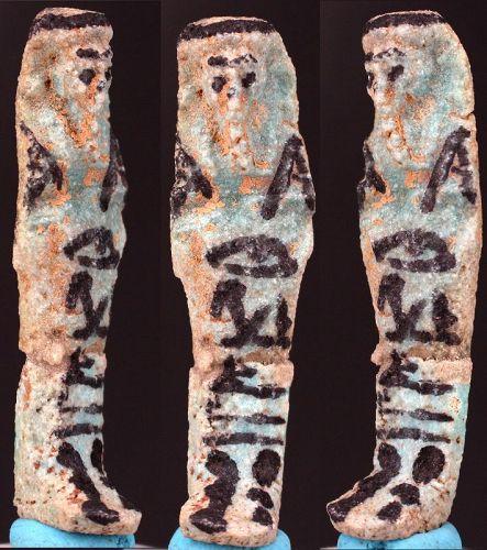 "Ancient egyptian faience Shabti ""Osiris;  justified""  6cm."